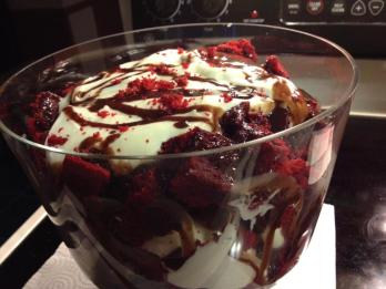 Red Velvet Trifle with Chocolate Ganache and Marshmallow Cream Cheese Frosting